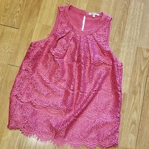 NWT hot pink lace sleeveless top XS